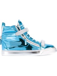 Giuseppe Zanotti Design Metallic Hi Top Sneakers Blue