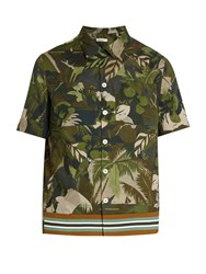 Valentino Tropical Print Short Sleeved Cotton Shirt Green Multi
