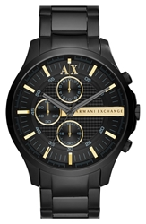 Armani Exchange Chronograph Bracelet Watch 46Mm Black Gold