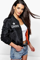 Boohoo Badge Bomber Flight Jacket Black
