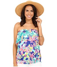 Lilly Pulitzer Katelyn Tube Top Iris Blue Casa Azul Women's Sleeveless Multi