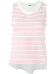 Dondup Sleeveless Striped Tank White