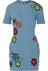 House Of Holland Nancy Appliqued Chambray Mini Dress