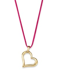 Macy's 10K Gold Necklace Sideways Heart Pendant On Pink Nylon Cord