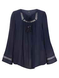 Evans Navy Lace Insert Gypsy Top
