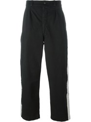 Amen Stripe Applique Straight Trousers Black
