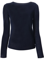 Zanone Button Fastening Sweater Blue