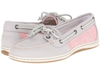 Sperry Firefish Cross Hatch Canvas Light Grey Coral Multi Women's Lace Up Casual Shoes Gray