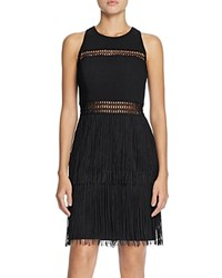Aqua Fringe Cocktail Dress Black