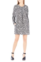 Bcbgmaxazria 'Ryleigh' Animal Print Silk Shift Dress Dove Combo