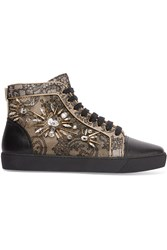 Rene Caovilla Crystal Embellished Lace And Karung Sneakers Black