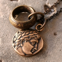 Greek Bronze Apollo Coin Necklace With African By Losttribedesigns