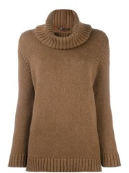 Agnona Turtleneck Jumper Brown