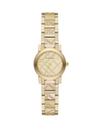 Burberry 26Mm Check Engraved Yellow Golden Plated City Watch