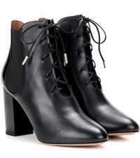 Aquazzura Victoria Bootie 85 Leather Ankle Boots Black
