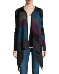 Neiman Marcus Striped Hooded Cardigan Mystic River