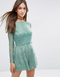 Asos Lace Crochet Bodice Playsuit Dark Mint Multi