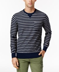 Tommy Hilfiger Men's Striped Long Sleeve T Shirt Navy Blazer Silver Heather