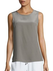 Peserico Silk High Low Tank Top Dark Taupe