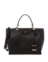 Guess Cammie Logo Debossed Satchel Black
