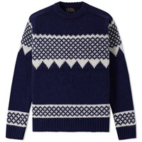 Beams Plus Snow Pattern Crew Knit Blue