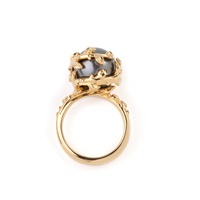 Kasun Dark Grey Pearl Ring Gold