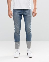 Asos Ankle Glazer Skinny Jeans With Cut And Sew Turn Up In Mid Blue Mid Blue
