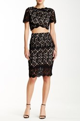 Blvd Lace Yoke Pencil Skirt Black