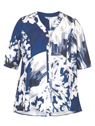 Chesca Abstract Block Flower Print Jacket Blue