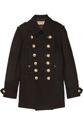 Burberry Brit Leather Trimmed Wool Blend Coat Black