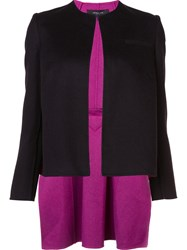Derek Lam Collarless High Low Hem Jacket Black