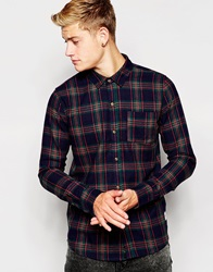 Bellfield Flannel Tartan Check Shirt Navy