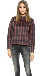 Torn By Ronny Kobo Zemila Photographic Plaid Sweatshirt Black Red