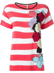 Antonio Marras Striped Shortsleeved Knit Top Pink And Purple