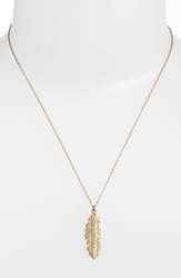 Melinda Maria Small Feather Pendant Necklace Gold Clear