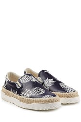 Valentino Leather Slip On Sneakers With Raffia Blue
