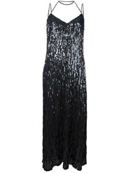 Nina Ricci Draped Sequin Dress Grey