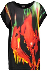 Just Cavalli Printed Satin And Stretch Jersey Top Red