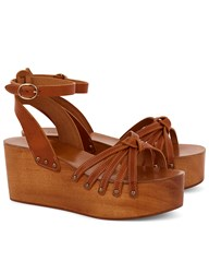 Etoile Isabel Marant Tan Leather Wooden Zia Wedges Brown