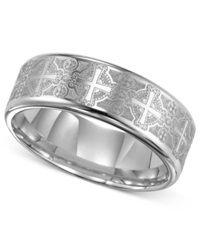 Triton Men's Tungsten Carbide Ring Comfort Fit Etched Cross Wedding Band