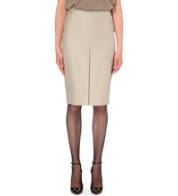 Max Mara Nestore Wool Blend Pencil Skirt Beige