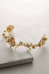 Anthropologie Brea Floral Headband Gold