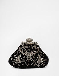 Moyna Velvet Clutch With Hand Beading And Vintage Style Fastening Black