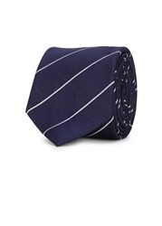 Tiger Of Sweden Dachs Navy Striped Silk Tie Blue And White