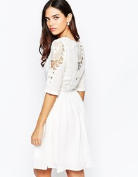 Lavand Skater Dress With Lace Sleeves And Lace Back Detail White