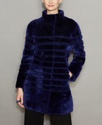 The Fur Vault Striped Lamb Coat Dark Blue