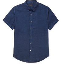 Theory Coppolo Slim Fit Linen Shirt Blue