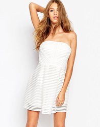 Missguided Crochet Stripe Detail Skater Dress White