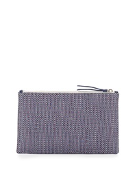 Lauren Merkin Medium Zip Top Raffia Clutch Purple