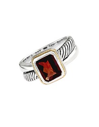 Effy Balissima Sterling Silver And 18 Kt. Gold Ring With Garnet Stone Pendant Red